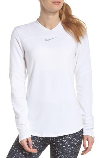 Nike Dry Long Sleeve Pullover In White/ Flt Silver