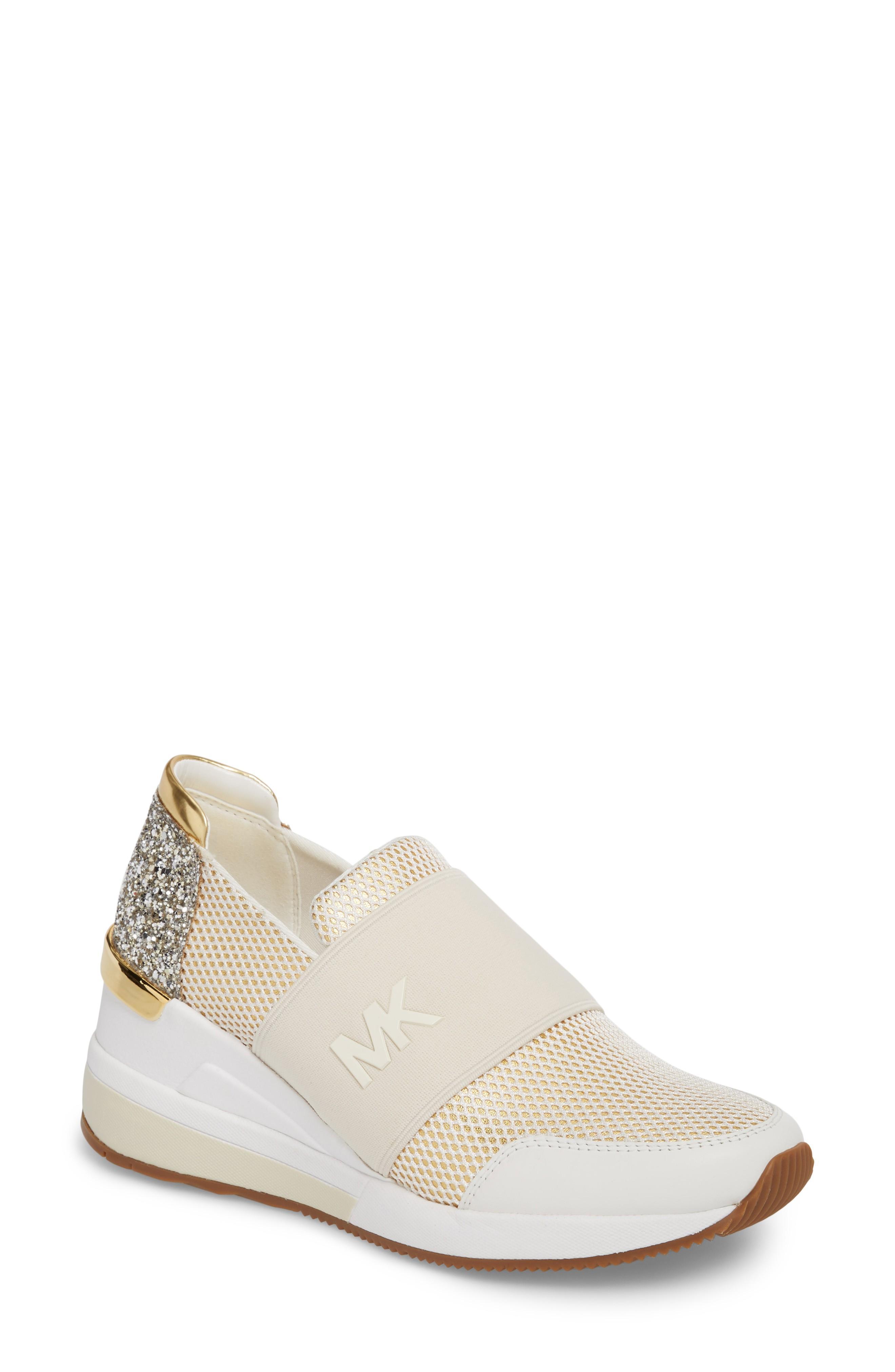 Michael Michael Kors Felix Slip-on Glitter Sneaker In Gold