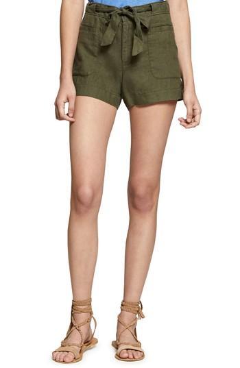 Sanctuary Sasha Linen Utility Shorts In Dark Cadet