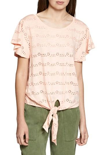 Sanctuary Hayden Cotton Tie-hem Eyelet T-shirt In Washed Papaya
