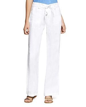 Sanctuary Shore Line Wide Leg Linen Pants In White
