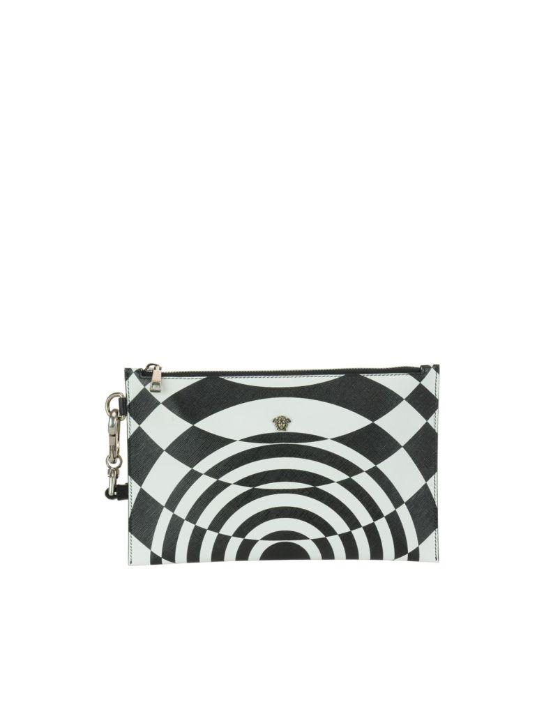 Versace Optillusion Pouch In Black-white