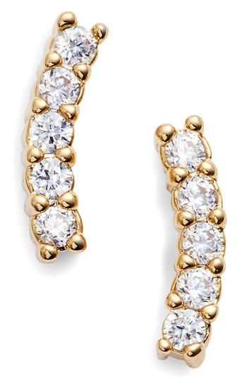 Five And Two Meg Crystal Ear Crawlers In Gold