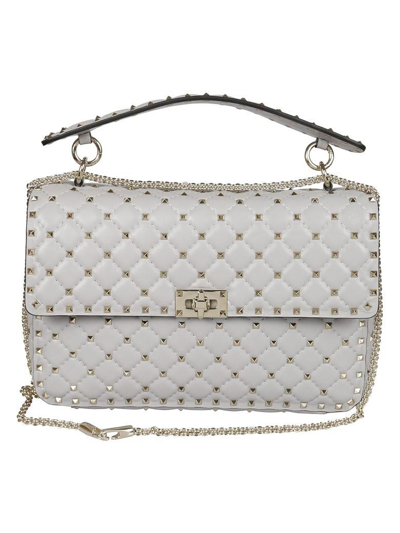 Valentino Garavani Spike Grande Shoulder Bag In Grey