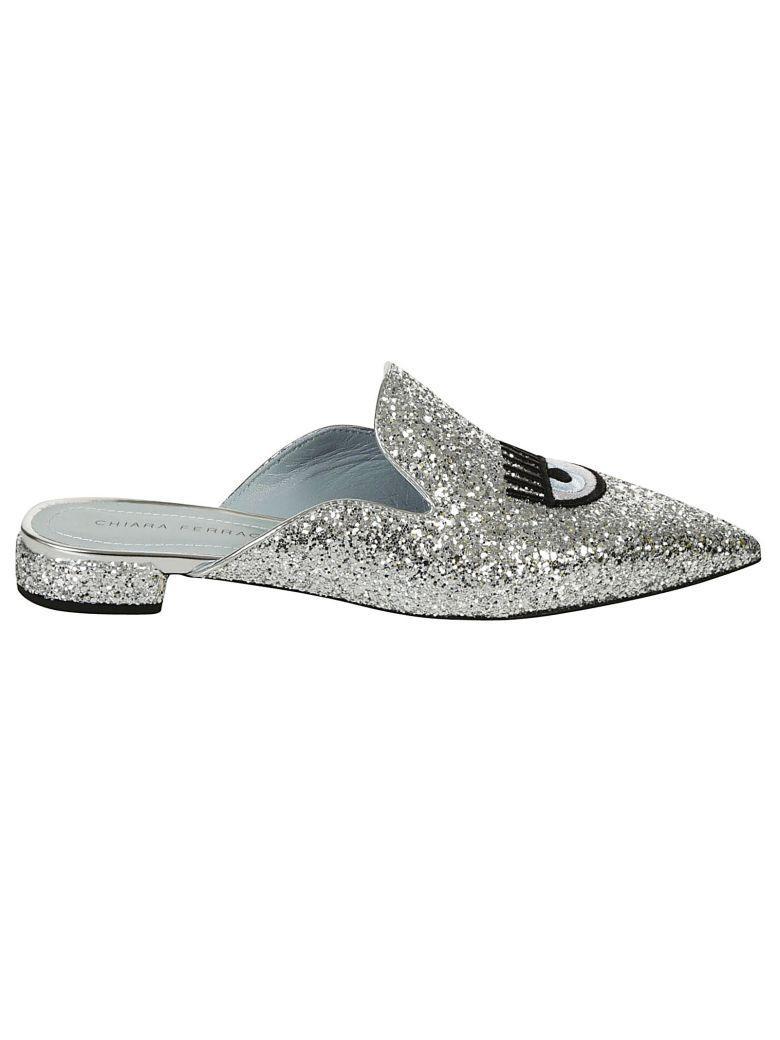 Chiara Ferragni Eye Glitter Mules In Argento