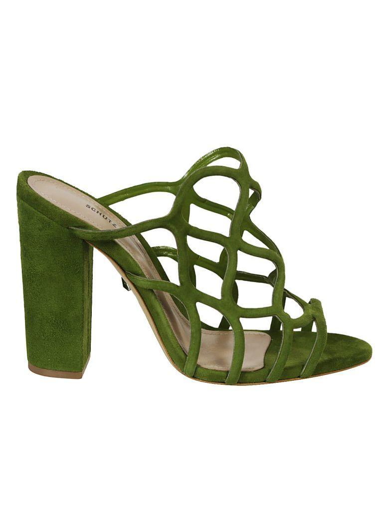Schutz Cage Sandals In Vibrant Green