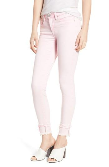 Blanknyc The Reade Classic Raw Hem Skinny Jeans In Pink