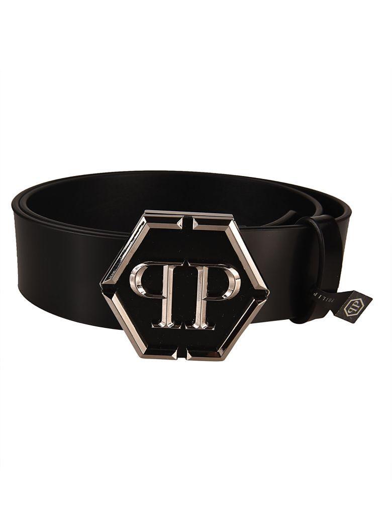 Philipp Plein Andron Leather Belt In Nero