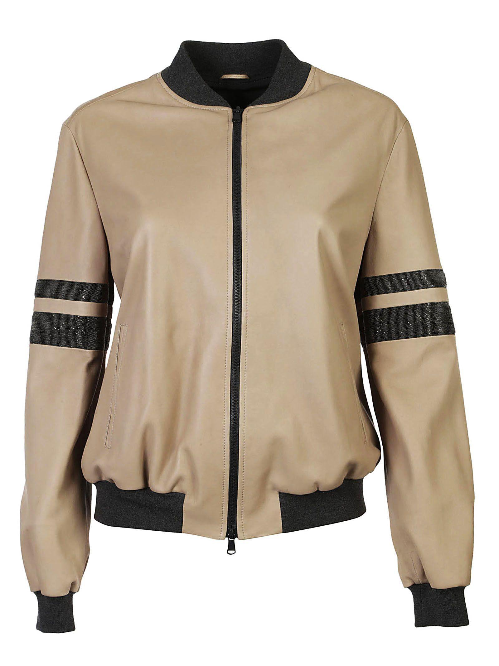 Brunello Cucinelli Stripe Sleeve Bomber Jacket In Beige
