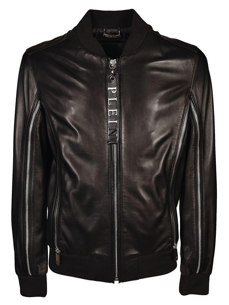 Philipp Plein Embossed Logo Leather Jacket In Nero