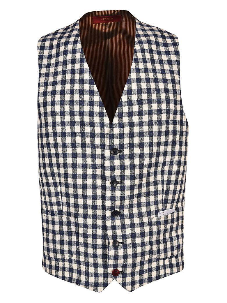 Ernesto Esposito Ernesto Checked Vest In Blu Bianco