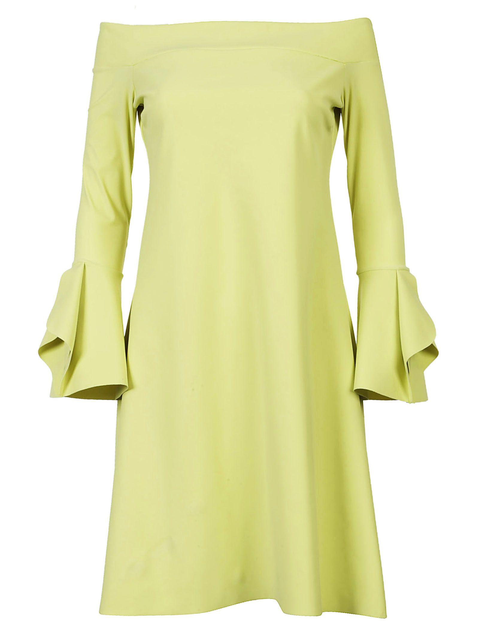 La Petit Robe Di Chiara Boni Chiara Boni Off-the-shoulder Dress In Avocado