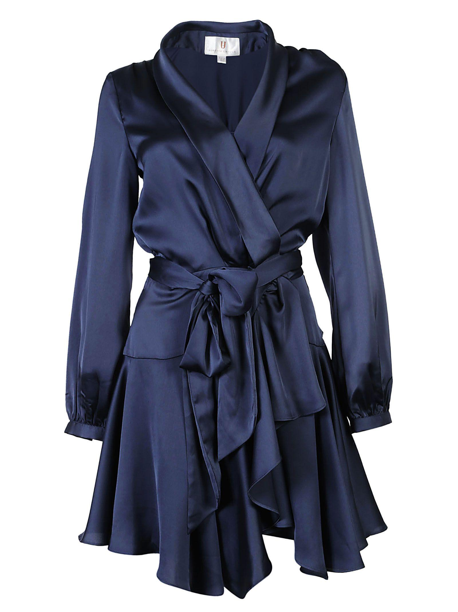 Forever Unique Ruffle Wrap Dress In Navy
