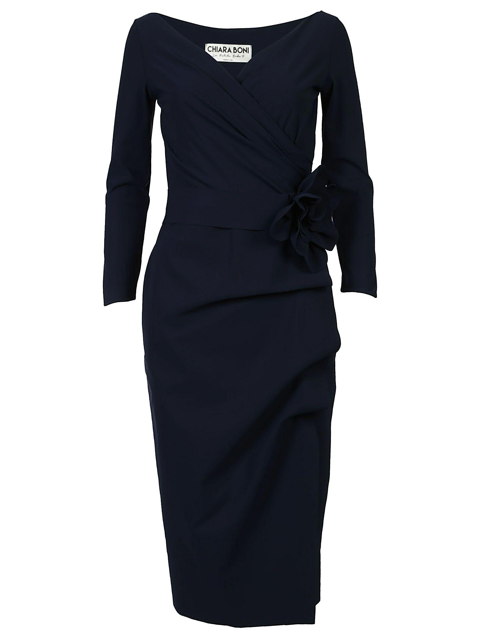 La Petit Robe Di Chiara Boni Chiara Boni Long-sleeve Dress In Dusk Blue