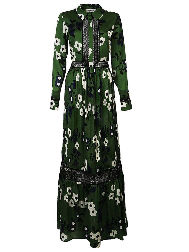 Self-portrait Floral-print Long Dress In Verde-nero