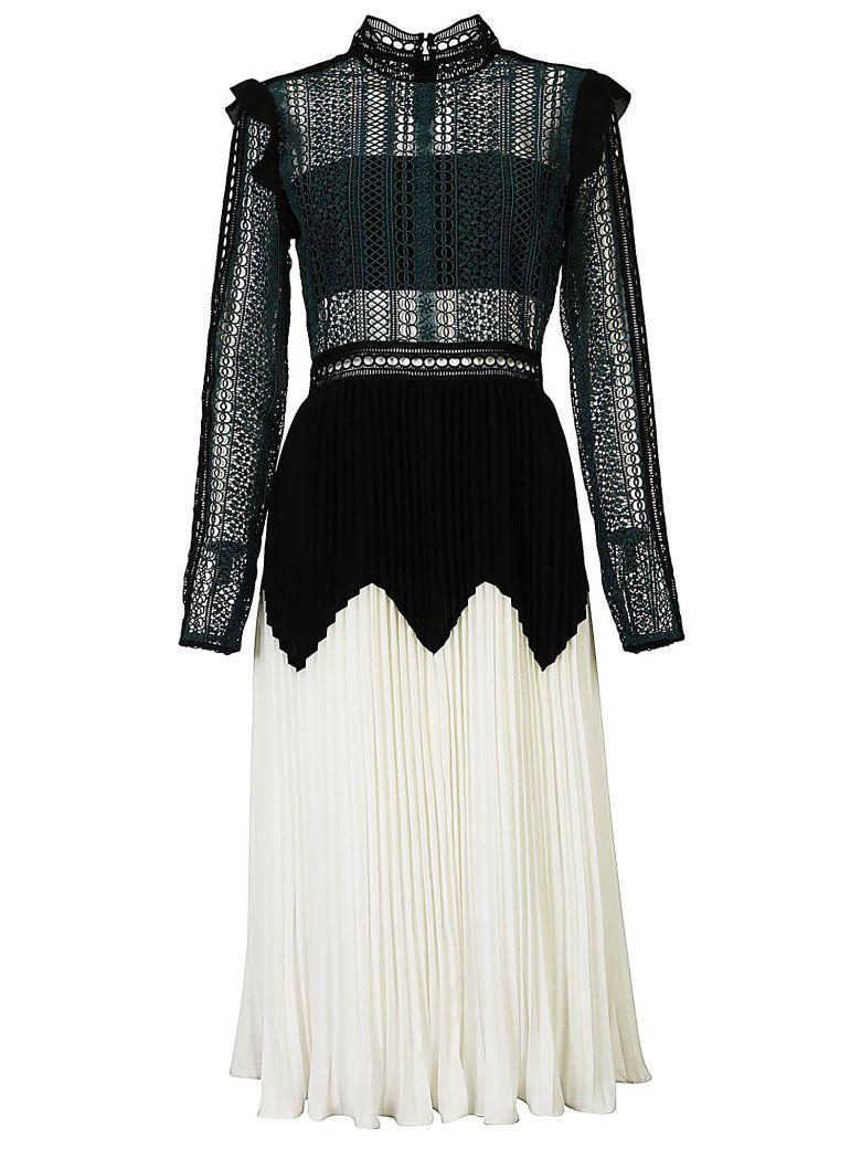 Self-portrait Pleated Lace Dress In Bianco-nero