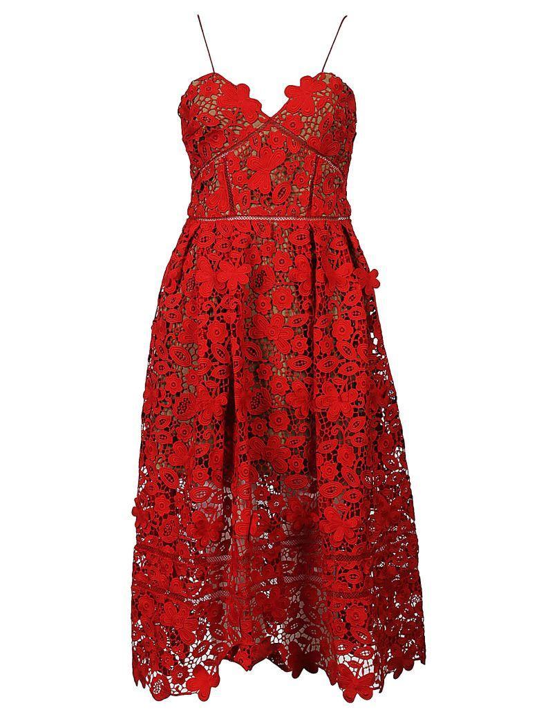 Self-portrait 3d Floral Lace Dress In Rosso