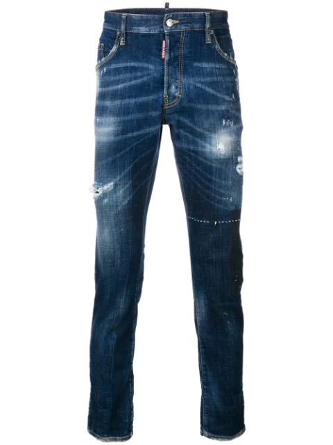Dsquared2 Skater Distressed Jeans In Blue