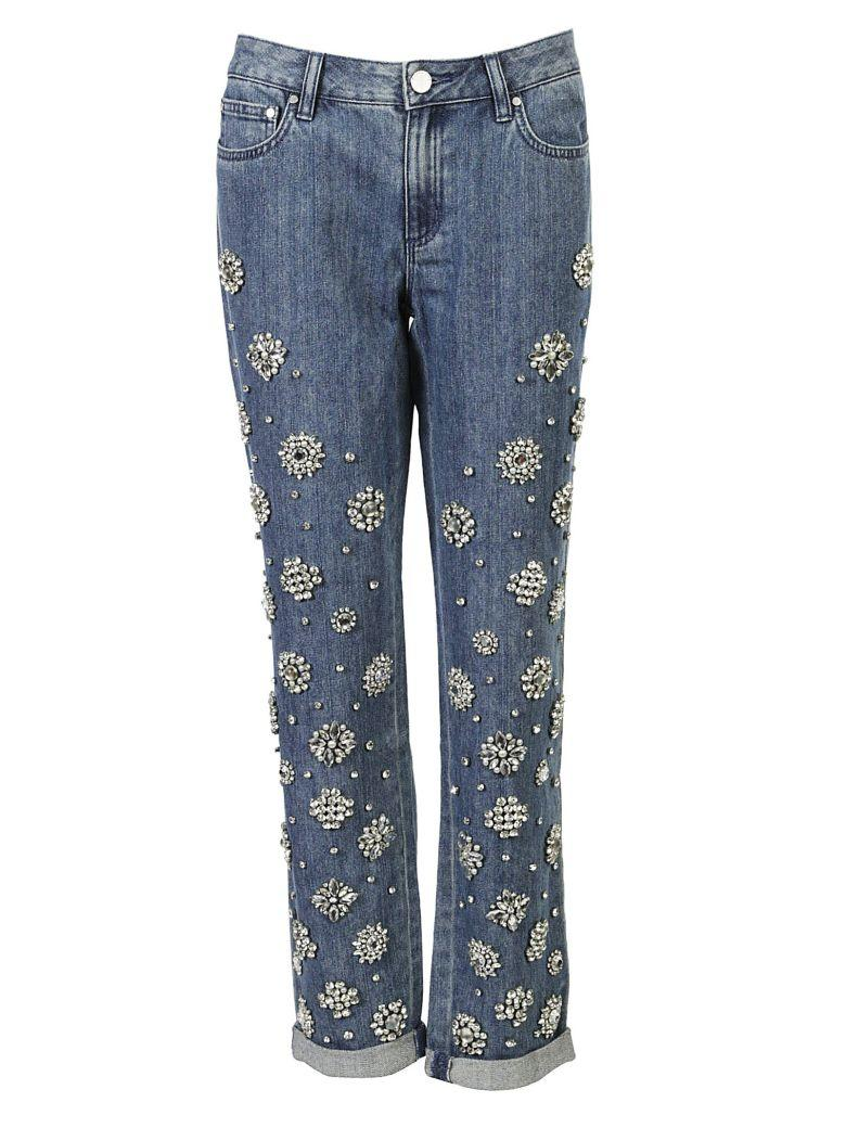 Michael Kors Jeweled Jeans In Light Indigo