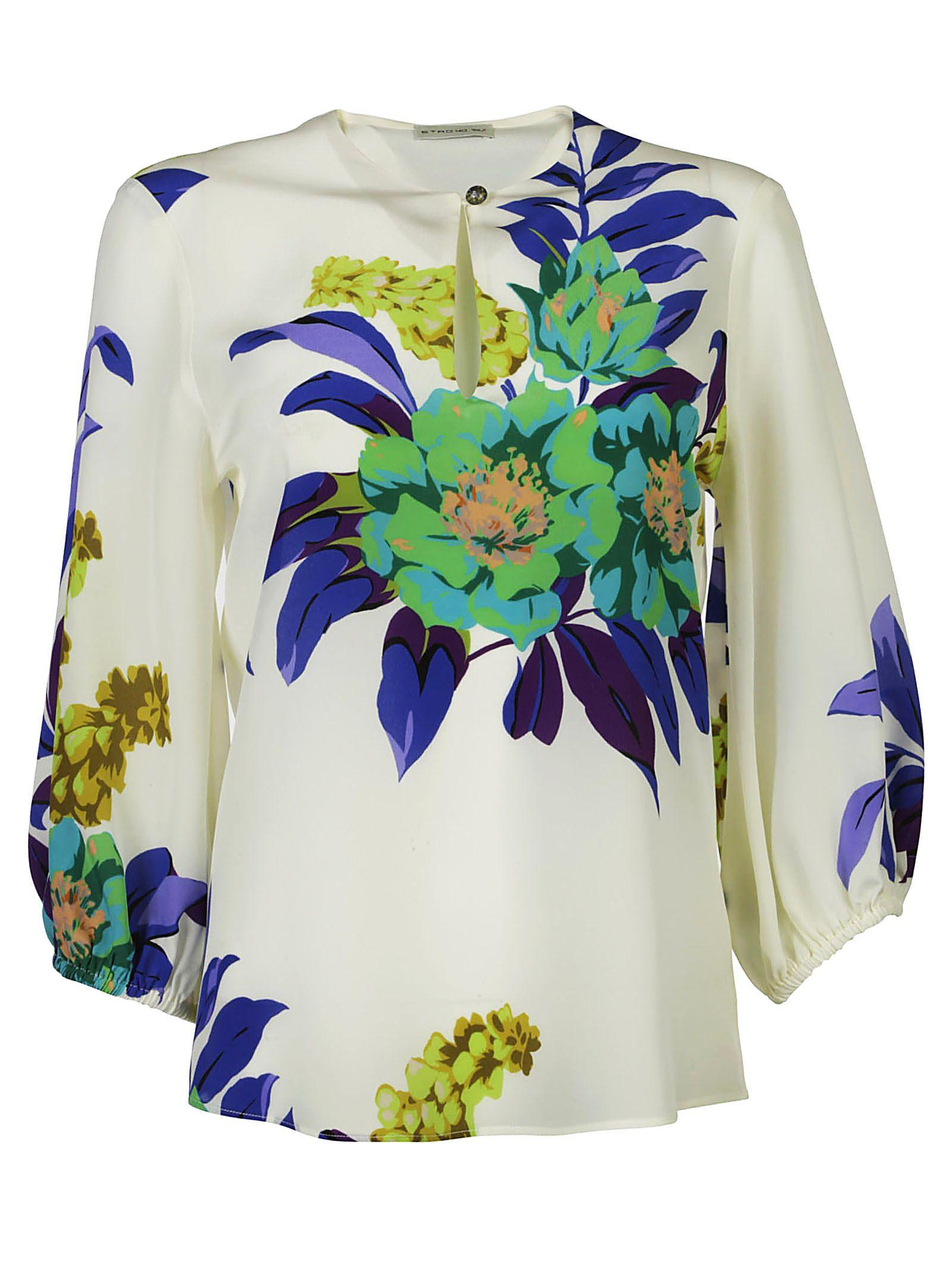 Etro Floral Print Shirt In Bianco
