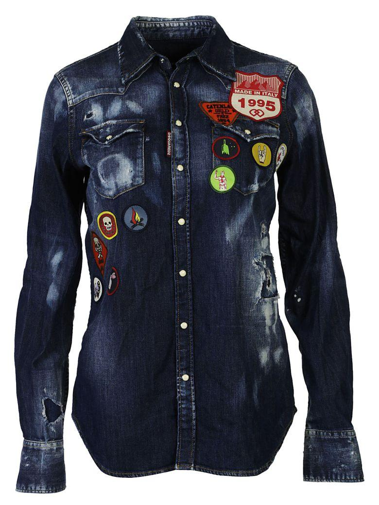 Dsquared2 Assorted Patch Shirt In Jeans