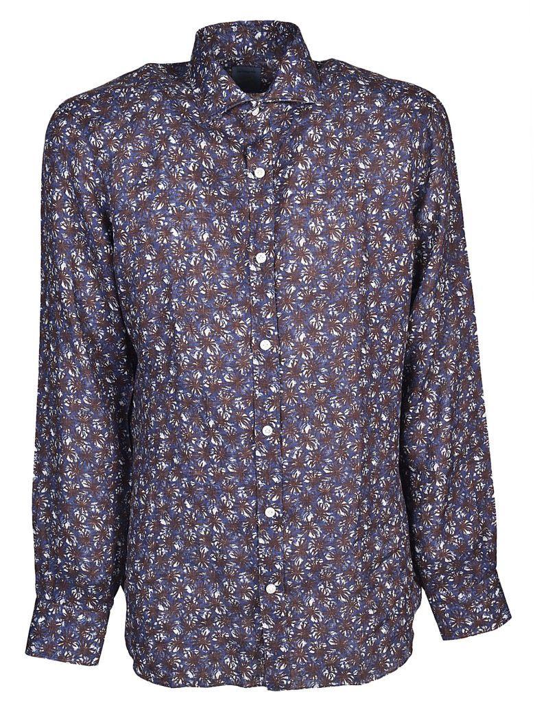 Barba Napoli Barba Printed Shirt In Blu Marrone