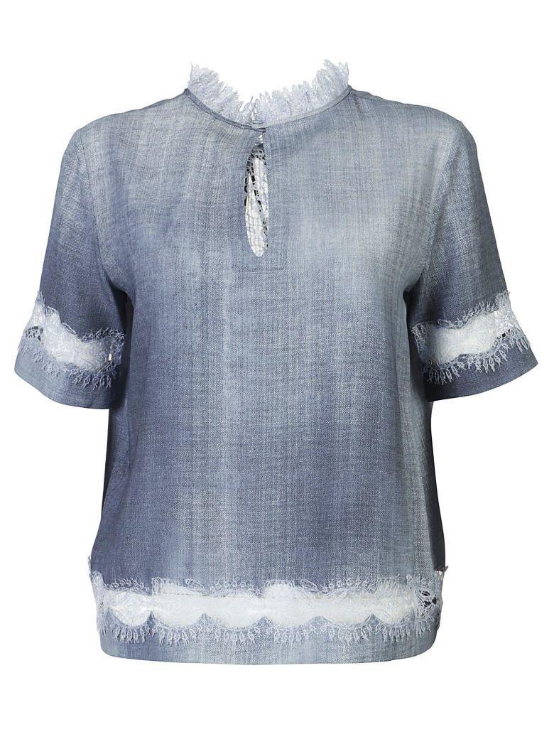 Ermanno Scervino Tie Neck Lace Blouse In Azzurro