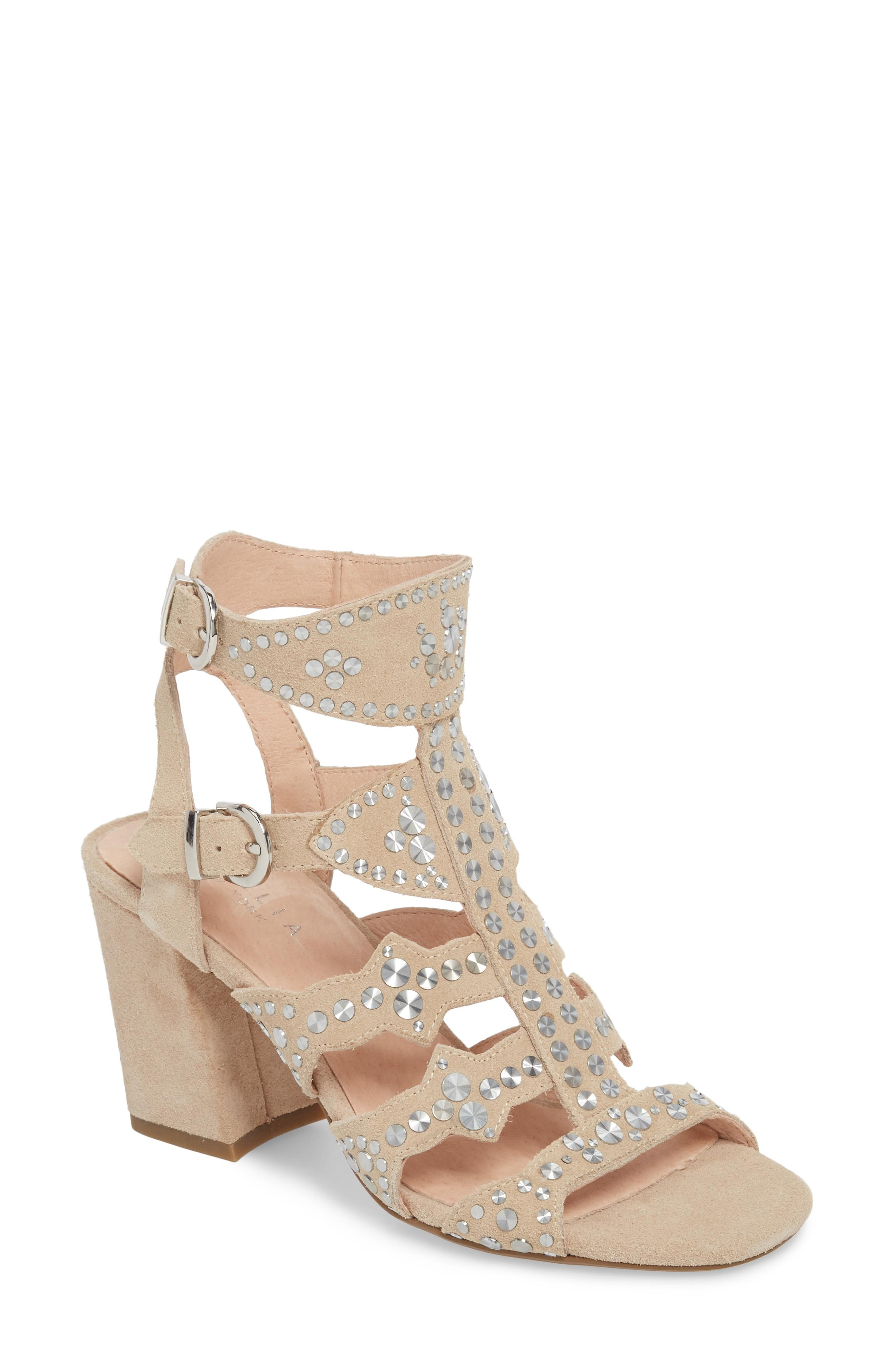Cecelia New York Cosmo Studded Sandal In Bone Suede