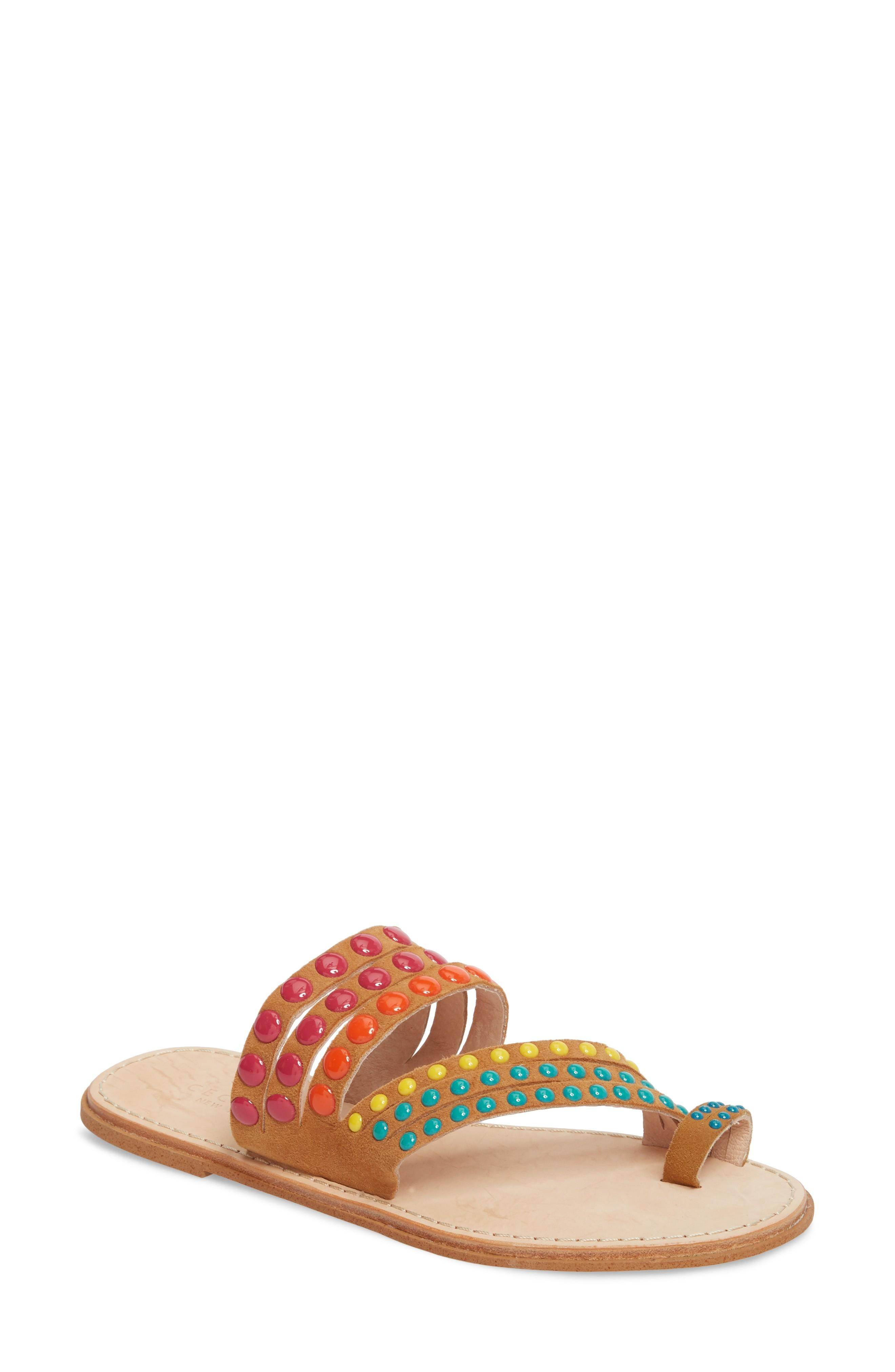 Cecelia New York Pezz Studded Sandal In Tan Print Suede