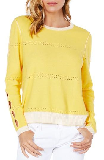 Michael Stars Slit Sleeve Reversible Sweater In Dandelion