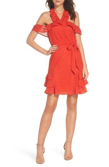 19 Cooper Cold Shoulder Lace Halter Neck Dress In Coral