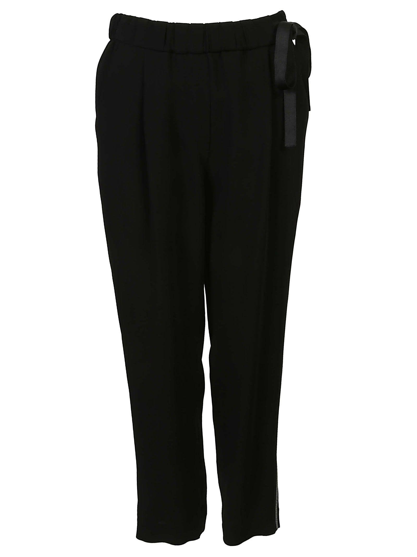 Brunello Cucinelli Elasticated Side Band Trousers In Nero