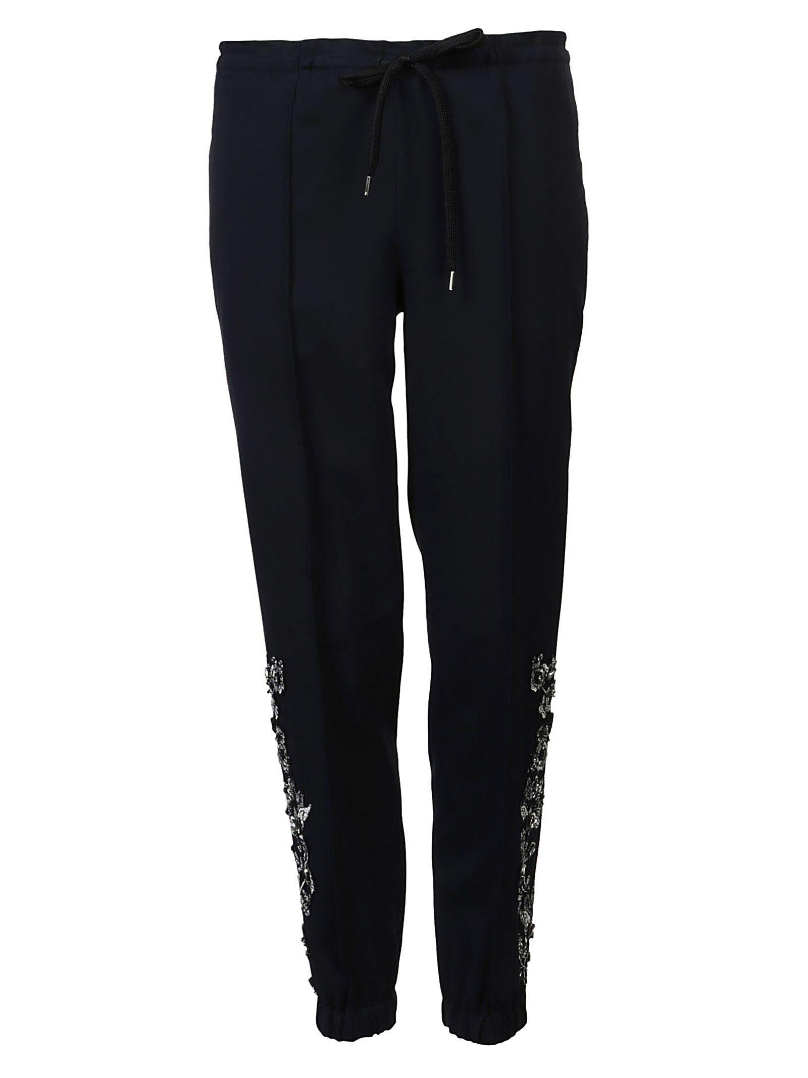 Ermanno Scervino Floral Embroidered Side Paneled Pants In Nero