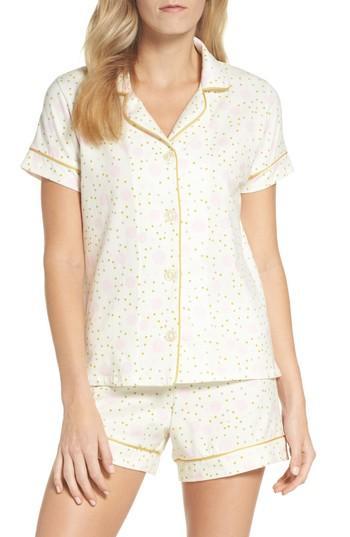 Bedhead Short Pajamas In Ivory Dot Print