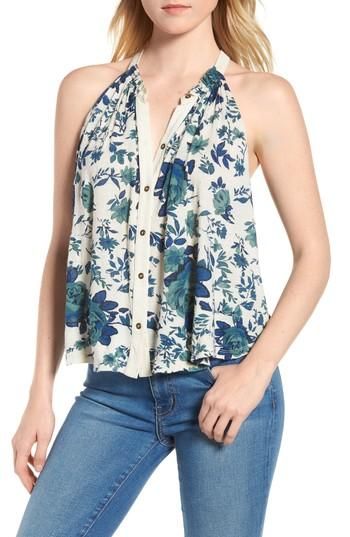 Lucky Brand Halter Style Floral Top In Blue Multi