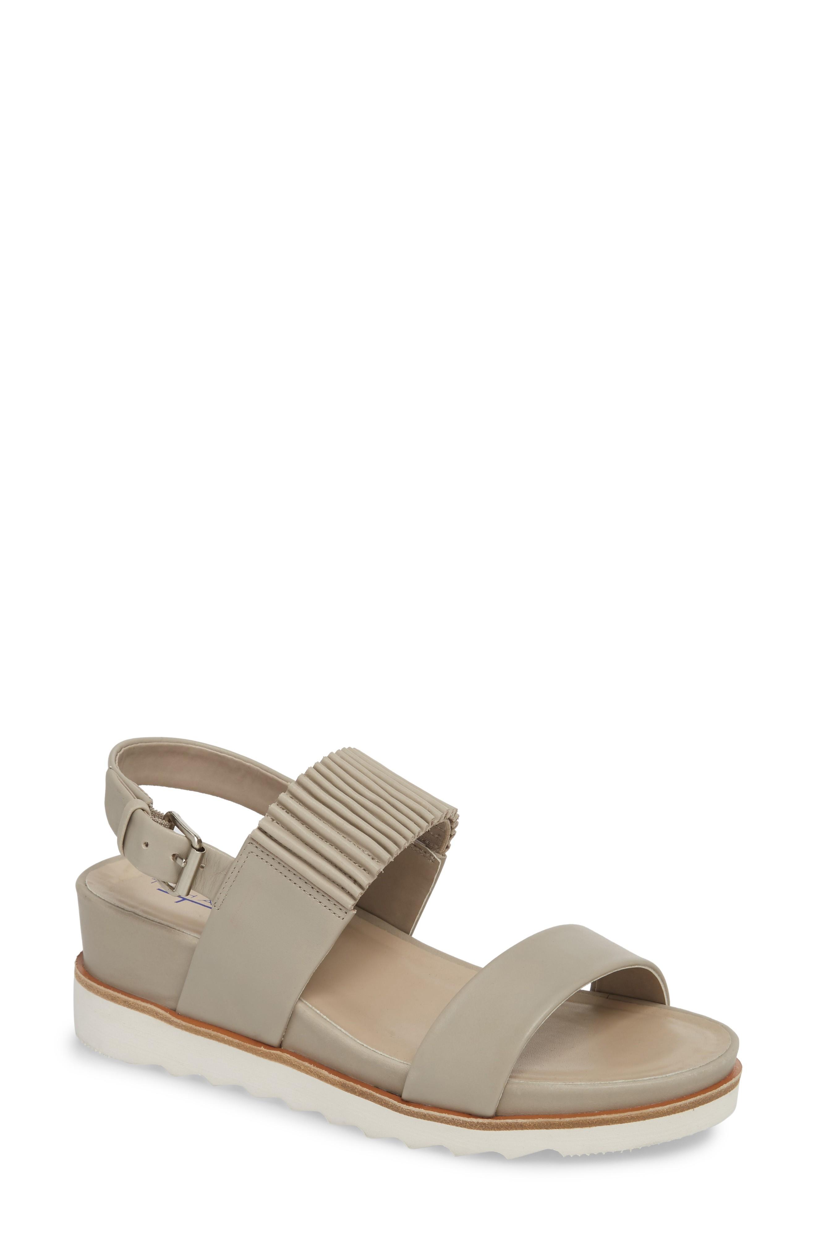 T Tahari Grace Wedge Sandal In Dove Leather