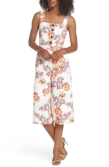 Adelyn Rae Eloise Floral Jumpsuit In Off White/ Red