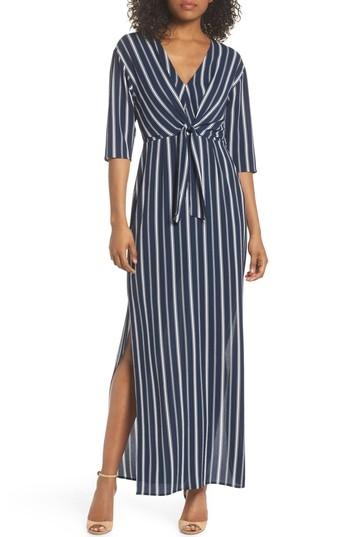 Charles Henry Knot Front Maxi Dress In Navy Stripe