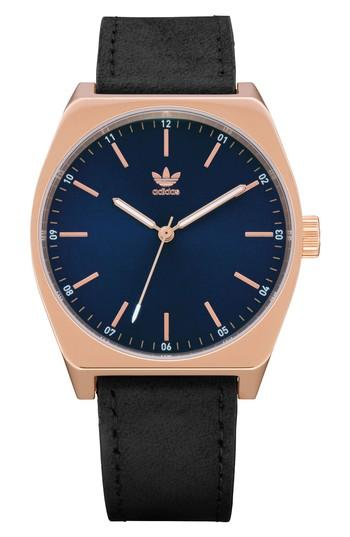 Adidas Originals Process Leather Strap Watch, 38mm In Rose Gold/ Navy/ Black