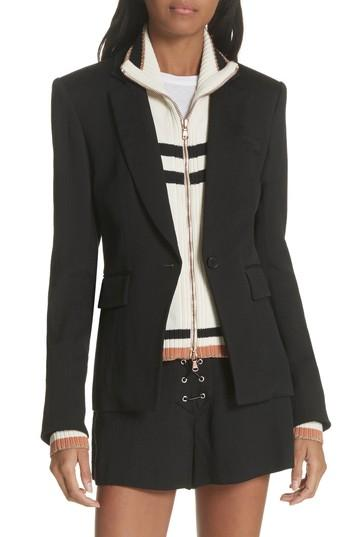 Veronica Beard Bently Lace-up Blazer In Black