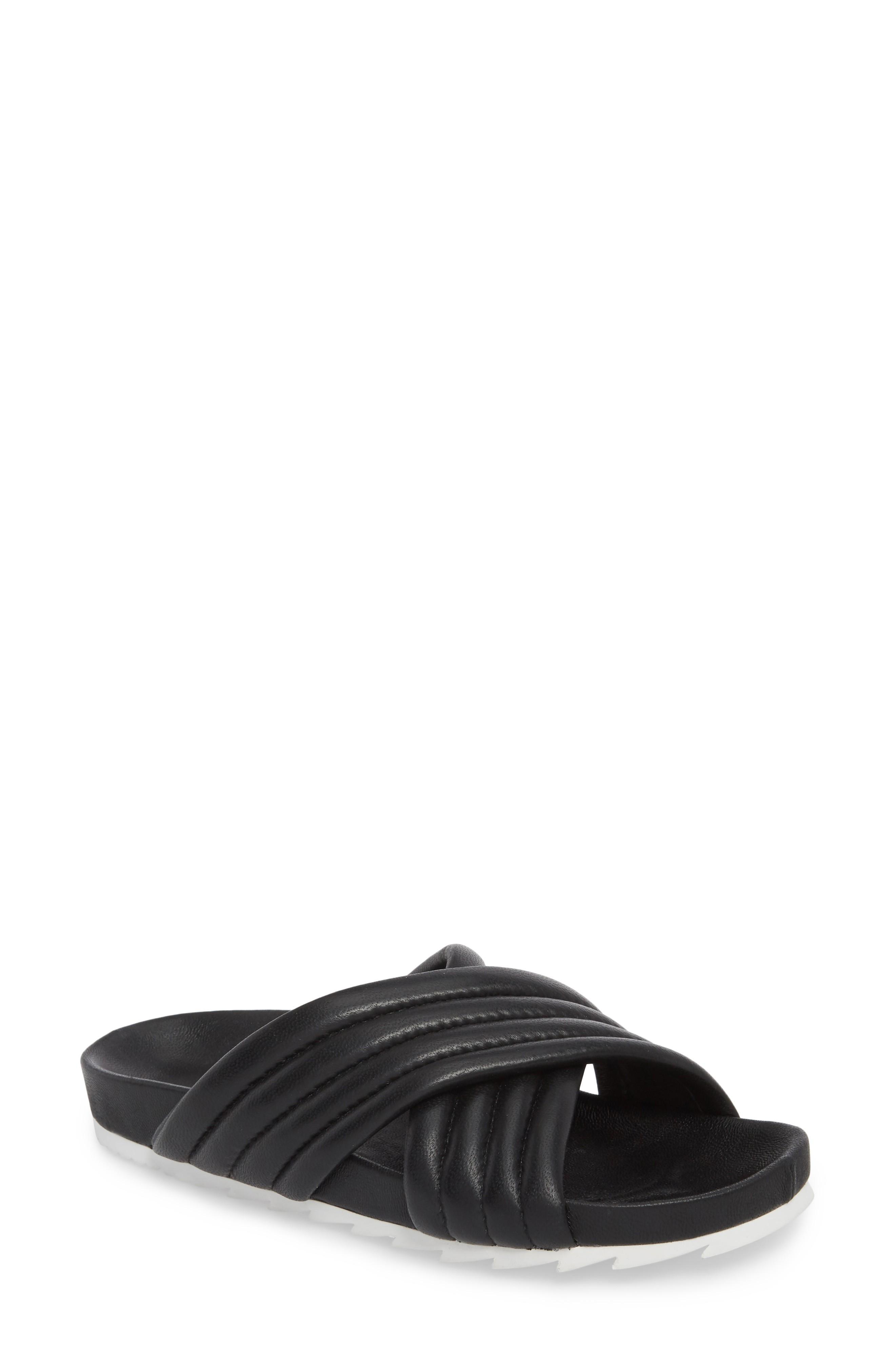 Jslides Easy Slide Sandal In Black Leather