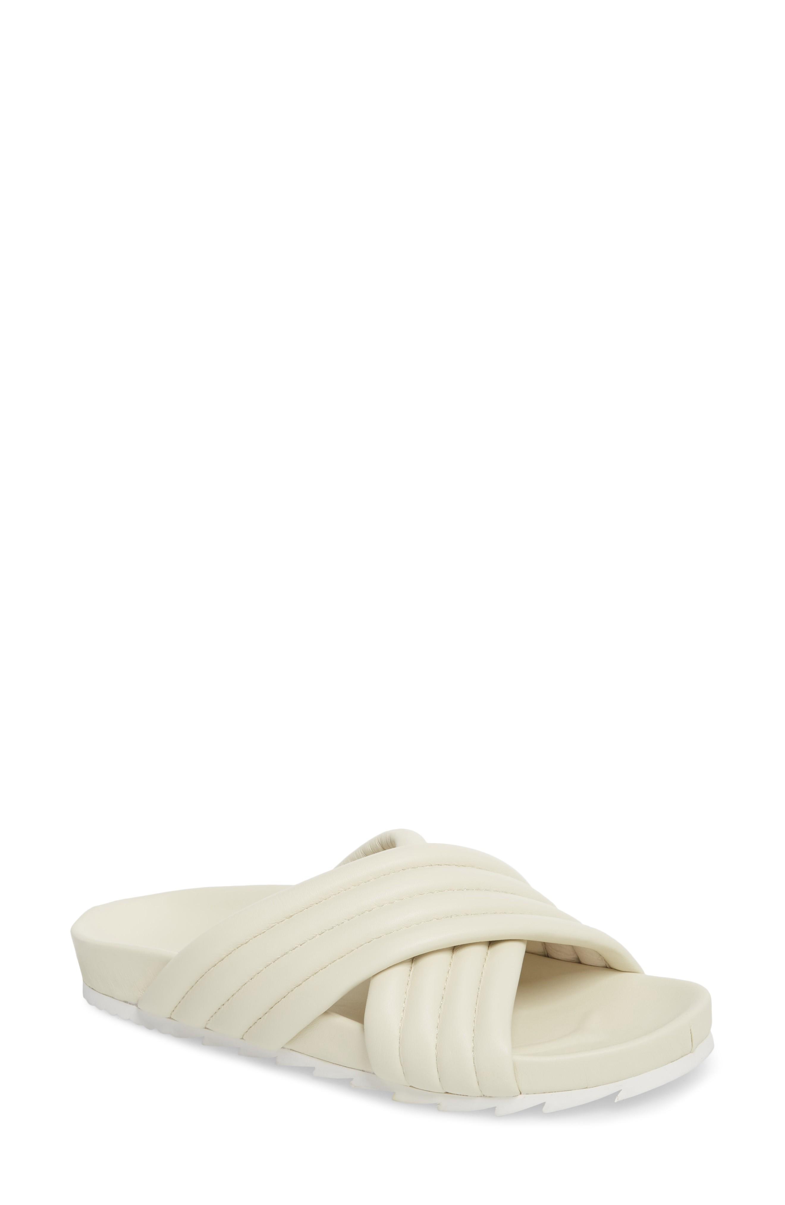 Jslides Easy Slide Sandal In Off White Leather