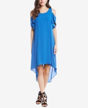 Karen Kane Ruffle Cold-shoulder High-low Dress In Cobalt