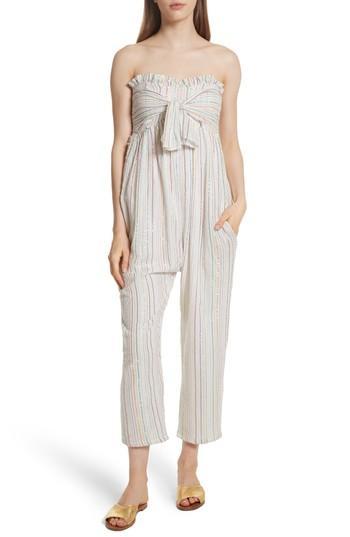 Apiece Apart Gipsea Metallic Stripe Strapless Jumpsuit In Lurex White Fez Stripe
