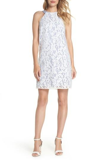 Maggy London Pinstripe Lace Overlay Shift Dress In White/blue