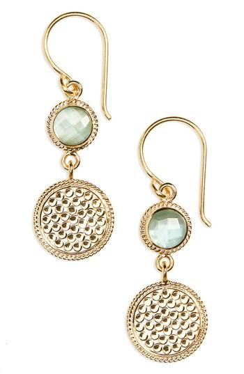 Anna Beck Double Drop Stone Earrings In Green Amethyst/ Gold