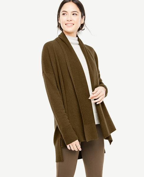 Ann Taylor Cashmere Ribbed Open Cardigan In Mangrove Green
