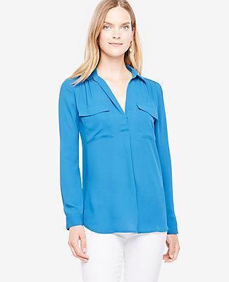 Ann Taylor Petite Camp Shirt In Amalfi Blue