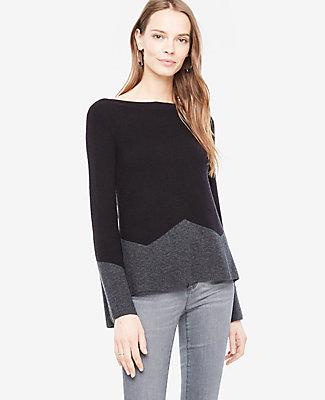 Ann Taylor Petite Colorblock Fluted Sleeve Boatneck Sweater In Black