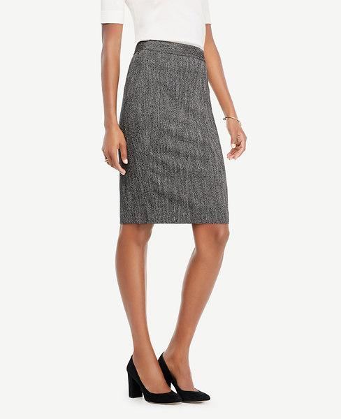 Ann Taylor Herringbone Pencil Skirt In Black White Tweed